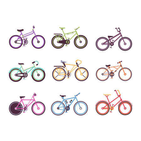Various types of bikes set, colorful bicycles for male, female and kids vector Illustrations