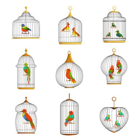 Kleurrijke vogels in kooien geplaatst vectorillustraties Stock Illustratie