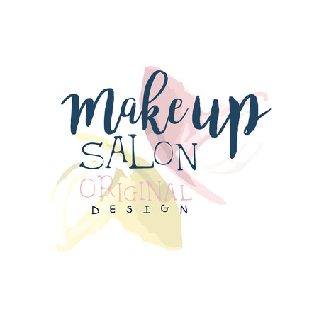 make up model: Make up salon original design, label for beauty studio, cosmetics shop, spa center watercolor vector Illustration Illustration