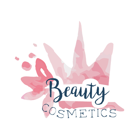 Beauty cosmetics, label for beauty studio, cosmetics shop, spa center watercolor vector Illustration Ilustração