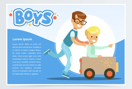 One boy pushing to another while he is sitting in a toy car, boys banner for advertising brochure, promotional leaflet poster, presentation flat vector element for website or mobile app