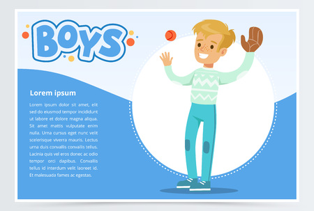 Boy palying baseball with glove and ball, boys banner for advertising brochure, promotional leaflet poster, presentation flat vector element for website or mobile app