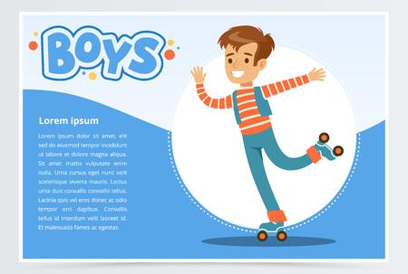 Boy rolling on roller blades, boys banner for advertising brochure, promotional leaflet poster, presentation flat vector element for website or mobile app Vectores