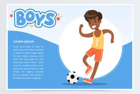 Smiling african boy playing soccer, boys banner for advertising brochure, promotional leaflet poster, presentation flat vector element for website or mobile app
