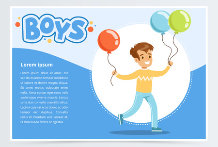 Running little boy with colorful balloons. Cartoon joyful child character in action. Flat vector illustration with white and blue background. Flyer, banner or poster design for kids fun party.