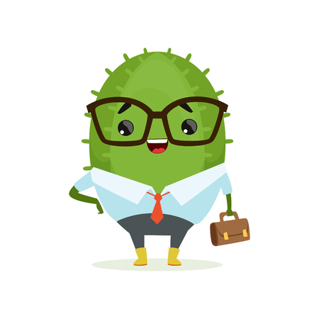 Cute cactus businessman, funny plant character in formal wear with briefcase cartoon vector Illustration on a white background