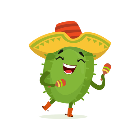 Cute Mexican cactus, funny plant character in sombrero hat shaking maracas cartoon vector Illustration on a white background Illustration