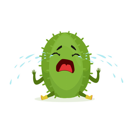 Cute upset cactus sitting on the floor and crying, funny plant character cartoon vector Illustration Illustration
