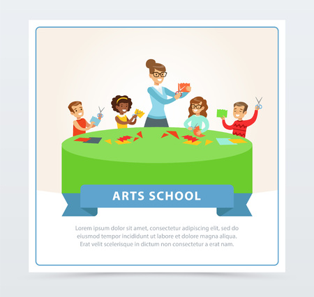 Teacher and group of school children behind large round table in art school. Boys and girls at development class at paper craft lesson. Articles made of paper. Cartoon people characters. Flat vector.  イラスト・ベクター素材