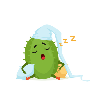 Cute cactus in white hat sleeping and snoring, funny plant character cartoon vector Illustration on a white background
