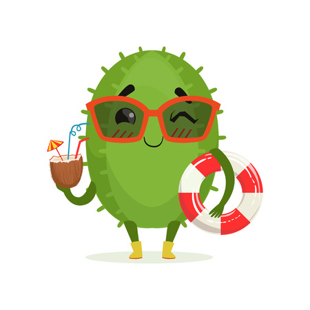 Cute cactus in sunglasses holding lifebuoy and cocktail, funny plant character relaxing cartoon vector Illustration
