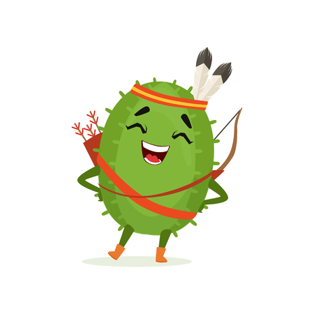 Cute cactus native American Indian, funny plant character in headdress of feathers with a bow and arrow cartoon vector Illustration Illustration