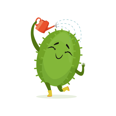 Cute cactus watering itself from red watering can, funny plant character cartoon vector Illustration