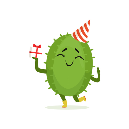 Cute cactus in a party hat holding gift box, funny happy plant character cartoon vector Illustration