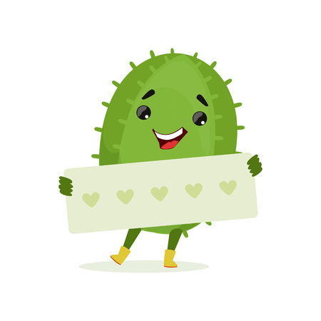 Cute smiling cactus holding banner with hearts, funny plant character cartoon vector Illustration Çizim