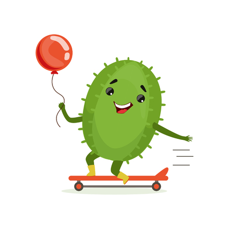 Cute cactus skateboarder, funny plant character scatebording with red balloon cartoon vector Illustration