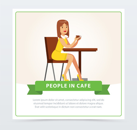 Beautiful woman sitting at the table drinking coffee, people in cafe banner, flat vector elements for website or mobile app Çizim
