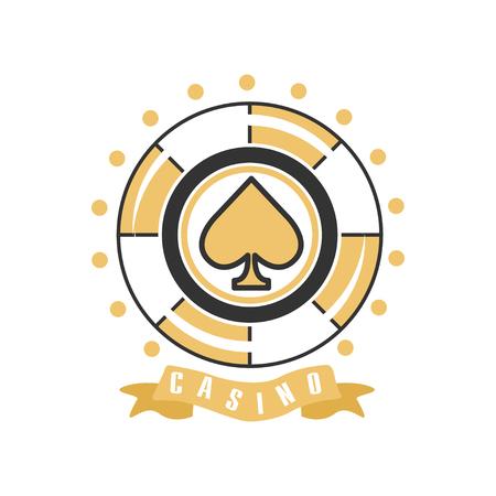 Casino, vintage gambling badge or emblem vector Illustration