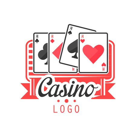 Casino, colorful vintage gambling badge or emblem with aces playing cards vector Illustration