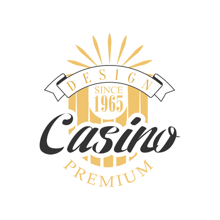 Casino premium design, colorful vintage gambling badge or emblem since 1965 vector Illustration Illustration