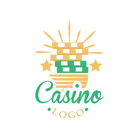 Casino and card poker, vintage gambling badge or emblem vector Illustration