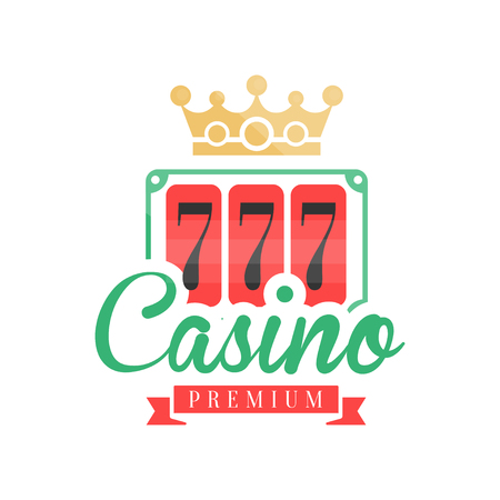 Casino premium, colorful gambling vintage emblem with lucky number 777 and crown vector Illustration Illustration