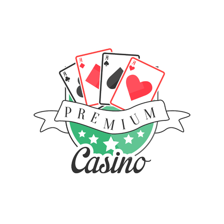 Casino premium, colorful vintage gambling badge or emblem with playing cards vector Illustration Illustration