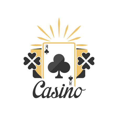 Casino, vintage gambling badge or emblem with ace of clubs playing card vector Illustration