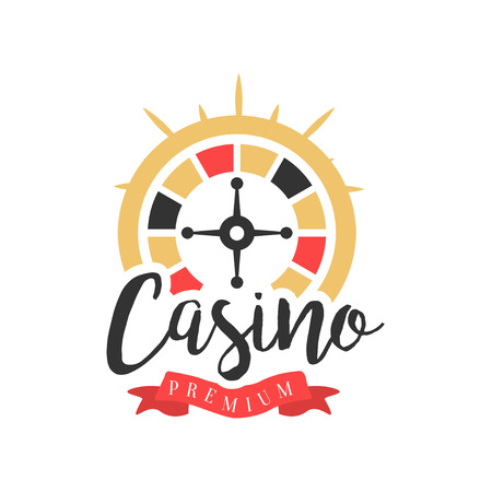 Casino, colorful vintage gambling badge or emblem with roulette sign vector Illustration