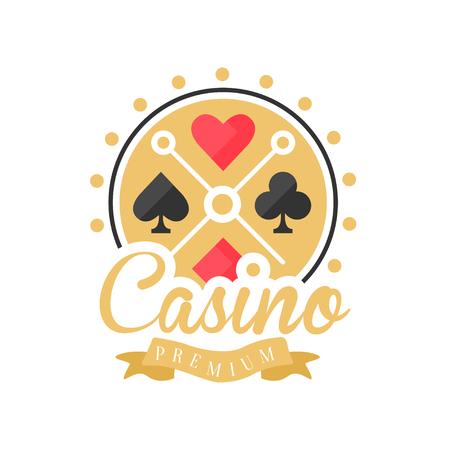 Prima del casino, insignia de juego vintage colorido o emblema con ases naipes vector ilustración Foto de archivo - 88470278