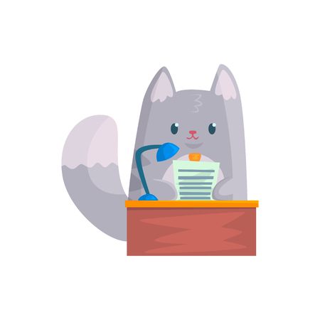 Cute businessman cat speaking from the rostrum, funny animal character cartoon vector Illustration Illustration