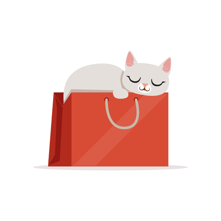 Adorable white cat sleeping in a red shopping bag, home pet resting cartoon vector Illustration