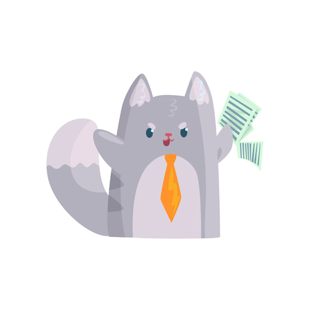 Cute businessman cat with orange tie holding documents, funny animal character cartoon vector Illustration