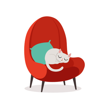 Lovely white cat sleeping on a red armchair, home pet resting cartoon vector Illustration