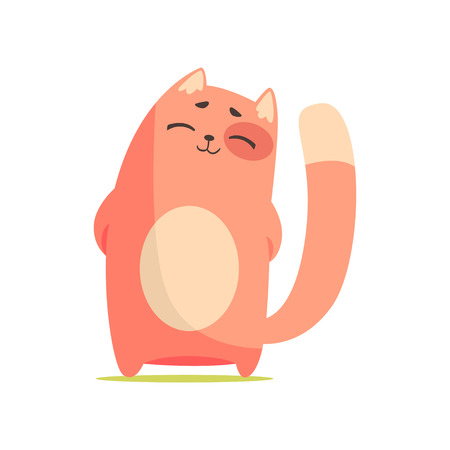Funny happy red cat standing with his paws folded behind his back, cute cartoon animal character vector Illustration