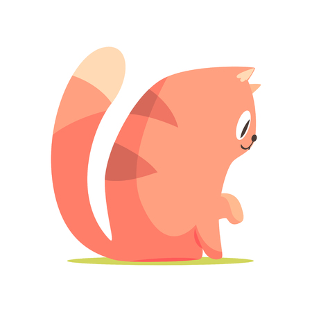 Funny red cat sitting on the floor, side view, cute cartoon animal character vector Illustration
