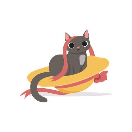 Leuke grappige grijze kat spelen met stro hoed en lint vectorillustratie