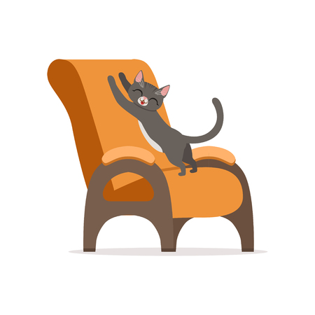 Funny red cat awaking and stretching its body on an orange armchair, home pet resting vector Illustration