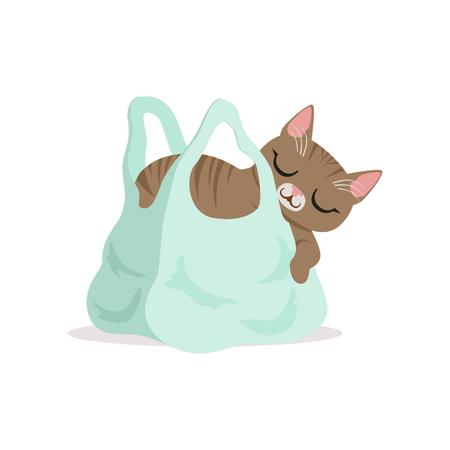 연한 파란색 쇼핑 가방에서 자 고 사랑스러운 회색 고양이, 홈 애완 동물 휴식 만화 벡터 일러스트 일러스트