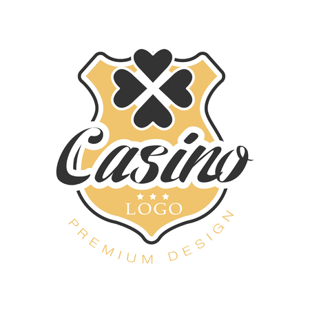 Casino premium design, vintage gambling badge or emblem with golden shield and clover leaf vector Illustration
