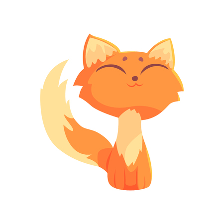 Funny red kitten sitting on the floor with closed eyes, cute cartoon animal character vector Illustration