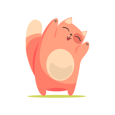 Funny happy red cat standing with raised paws, cute cartoon animal character vector Illustration Illustration