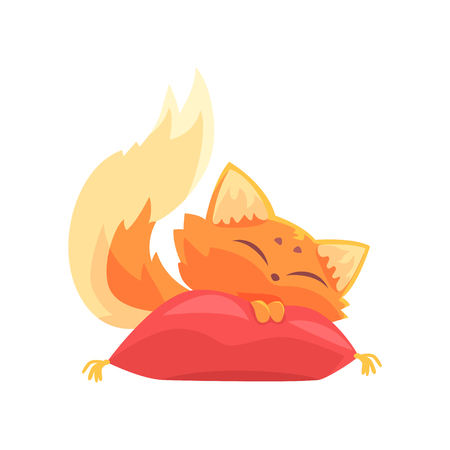 Funny red kitten sleeping on a pillow, cute cartoon animal character vector Illustration on a white background