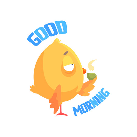 Good morning, funny cartoon comic chicken drinking coffee or tea vector Illustration on a white background