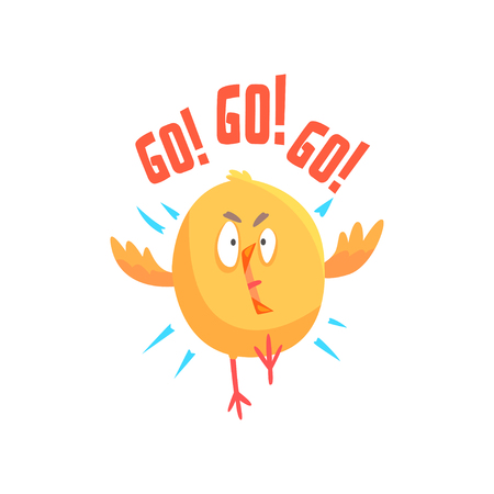 Funny cartoon comic chicken with phrase Go, Go, Go vector Illustration on a white background