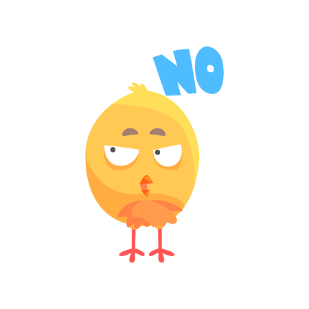 Funny puzzled cartoon comic chicken with phrase No vector Illustration on a white background