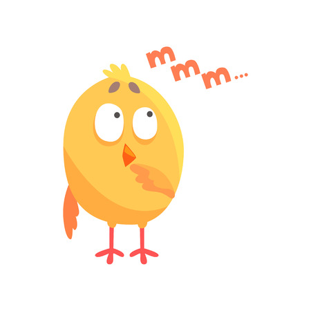 Funny thoughtful cartoon comic chicken vector Illustration