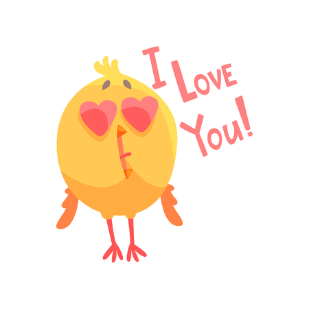 I love you, funny cartoon comic chicken with heart shape eyes vector Illustration Stok Fotoğraf - 88589894