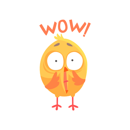 Funny surprised cartoon comic chicken with phrase Wow vector Illustration