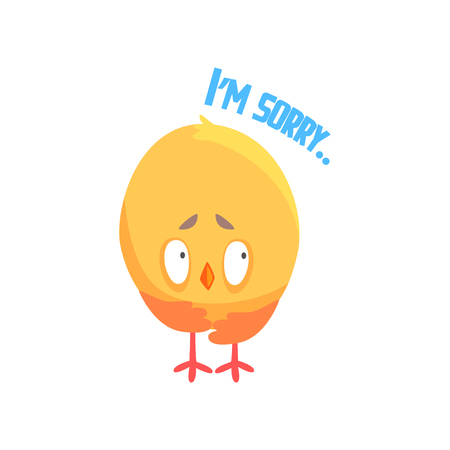 I am sorry, funny cartoon comic chicken apologizing vector Illustration